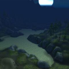 Высохшее озеро Лок ночью