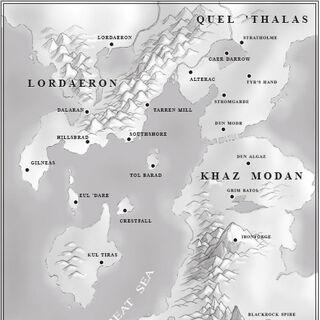 Местоположение Тол Барад в <i>Warcraft II: Tides of Darkness</i>.