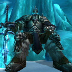 The Lich King on the Frozen Throne with Frostmourne at his side.