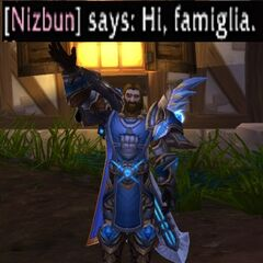 Nizbun greeting his famiglia
