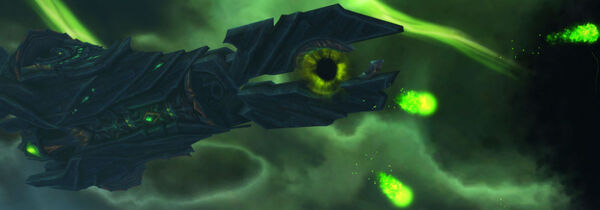Demon ship above Broken Shore banner
