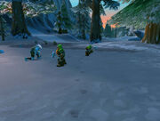 Dwarven guards fighting against Frostmane trolls