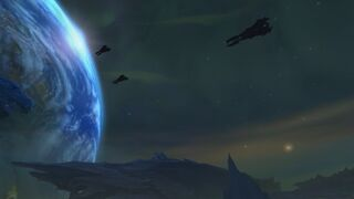 Argus sky with Azeroth in view