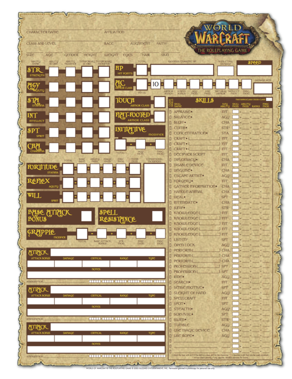 World of Warcraft: The Roleplaying Game Character Sheet | WoWWiki