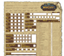 World of Warcraft: The Roleplaying Game Character Sheet