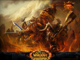 Garrosh and Varian fighting Deathwing