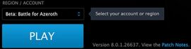 BfA Beta selected in Blizzard desktop app