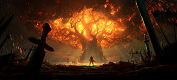 Battle for Azeroth - Teldrassil burning art