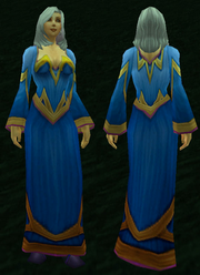 Blue Woolen Robe, Grass Background, Human Female