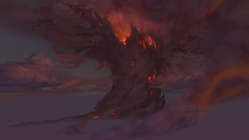 Teldrassil burning from Darkshore closer