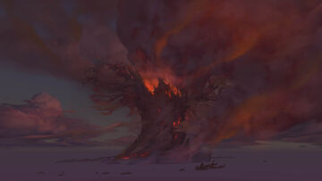 Teldrassil burning from Darkshore