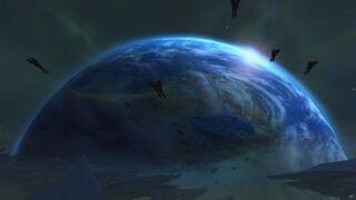 Azeroth seen from Argus