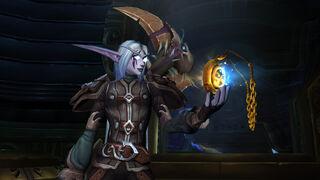 Night elf holding Heart of Azeroth