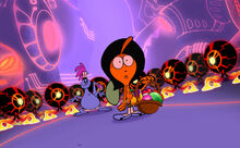 S2e1 Wander and Sylvia surrounded by Lord Dominator's minions