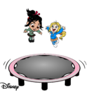 Vanellope & Vicky bouncing on the Sugar Rush Trampoline