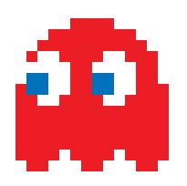 Pixel art of a red Pac-Man ghost