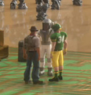 An astronaut in a spacesuit talks with an Indiana Jones-like character and a football player.