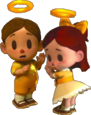 A boy and girl angel clad in yellow clothes look toward the camera in fright.