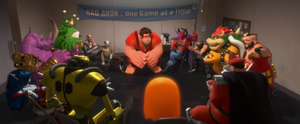 Bad guy characters from various games sit in a circle.