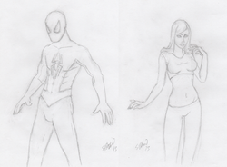 SpidermanMaryjanePencilSketches