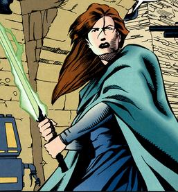Redhead Jedi female green saber