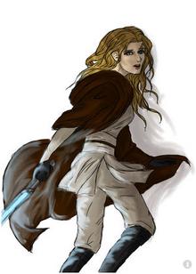 Blonde Jedi Female blue lightsaber