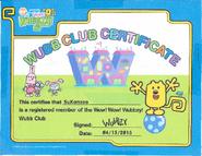 Wubb Club Certificate (Small)