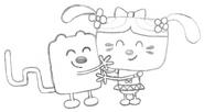 Wubbzy & Daizy Hugging Sketch