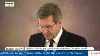 Erklärung von Bundespräsident Christian Wulff (22. Dez. 2011)
