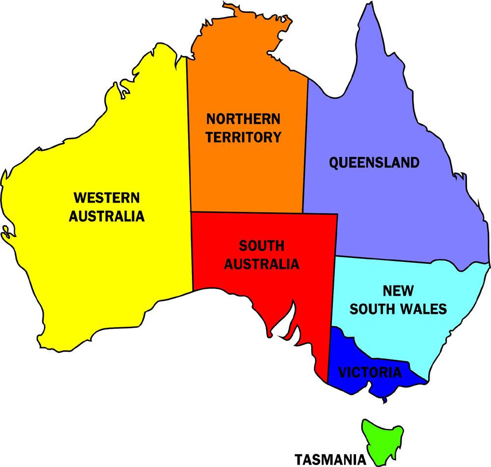 australia map 6 states
