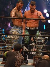Matt Sydal and Ricochet Super Junior Tag Tournament Winners