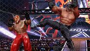 Rey Mysterio versus Hollywood Hogan in a Steel Cage