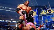 Triple H slingshots Bret Hart
