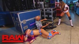 An incensed Alicia Fox ambushes Sasha Banks backstage- Raw, Oct. 16, 2017