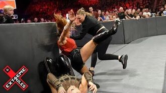 Ronda Rousey leaps from her ringside seat to attack Mickie James- WWE Extreme Rules 2018