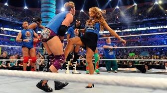 Eve gives Zack Ryder a low blow WrestleMania XXVIII on WWE Network