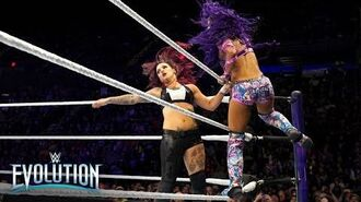 Sasha Banks brutally smashes Ruby Riott into the canvas from the top rope- WWE Evolution 2018