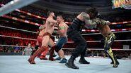 Rey Mystero Randy Orton and John Cena brawl with Roman Reigns Finn Balor and Shinsuke Nakamura