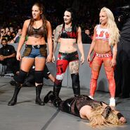 Ruby Riott Sarah Logan and Liv Morgan shift their attention to The Queen