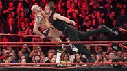 Ambrose floors Cesaro with a wicked clothesline