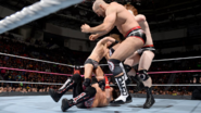 Sheamus Cesaro and Miz attacking AJ-Styles
