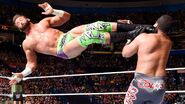 Competing in his first match since returning from injury Zack Ryder scores with a dropkick