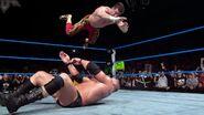 Eddie-Guerrero frog splash on Brock-Lesnar