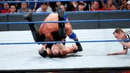 Baron Corbin caught in a roll up by Bobby Roode
