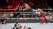 Randy Orton sends a RKO to Andrade Almas