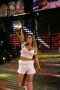 Mickie winning the Womens Champion