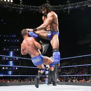 Mahal cracks Roode with a wicked knee to the face
