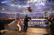 Undertaker diving at Shawn Michaels at WrestleMania25
