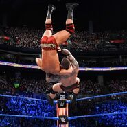 Orton hits Roode with a giant superplex off the top rope