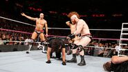 Sheamus and Cesaro attacking Seth-Rollin